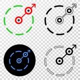 Radiaal Vectoreps van de Vluchtgrens Pictogram met Contourversie vector illustratie