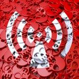 Radiación de la señal de peligro, blanco, cráneos rojos Imagen de archivo libre de regalías