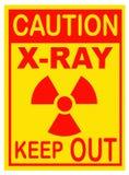 Radiación, señal de peligro de la radiografía Aislado en blanco Imágenes de archivo libres de regalías