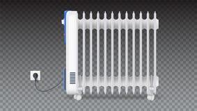 Radiador do óleo isolado no fundo transparente horizontal Óleo branco, bonde calefator enchido nas rodas doméstico ilustração royalty free