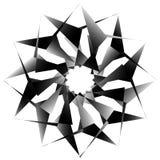Radial, спирально геометрический декоративный элемент - абстрактное monochr Стоковые Изображения