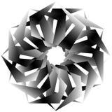 Radial, спирально геометрический декоративный элемент - абстрактное monochr Стоковое Изображение RF