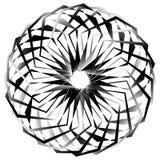 Radial, спирально геометрический декоративный элемент - абстрактное monochr Стоковые Фото