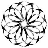 Radial, спирально геометрический декоративный элемент - абстрактное monochr Стоковое фото RF