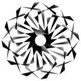 Radial, спирально геометрический декоративный элемент - абстрактное monochr Стоковое Фото