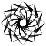 Radial, спирально геометрический декоративный элемент - абстрактное monochr Стоковое Изображение