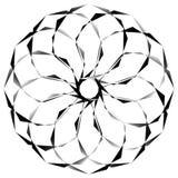 Radial, спирально геометрический декоративный элемент - абстрактное monochr Стоковая Фотография RF