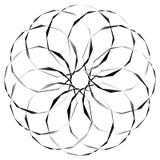 Radial, спирально геометрический декоративный элемент - абстрактное monochr Стоковая Фотография