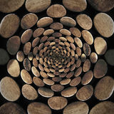 Radial abstract pattern with wood coins Stock Photos