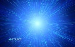 Radial brillant éclaté avec les particules linéaires illustration stock