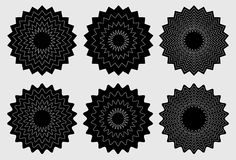 Radial contour elements with distorted decorative with jagged ed Royalty Free Stock Image
