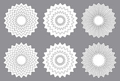 Radial contour elements with distorted decorative with jagged ed Stock Images