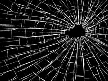 Radial cracks on broken glass. Royalty Free Stock Image