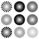 Radial Elements Set. Starburst or Sunburst Backgrounds, Rays Tem Royalty Free Stock Photos