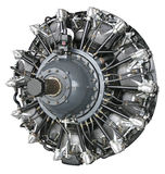 Radial Engine. From aircraft, on white background Stock Photos