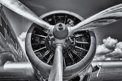 Radial engine. Radial engine of an aircraft. Close-up. Black and white royalty free stock images
