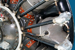 Radial engine of an airplane close up Stock Images