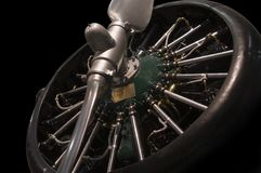 Radial engine with propellers Royalty Free Stock Photo