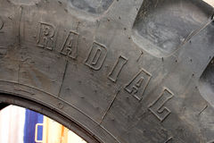 Radial farm tire. Farm tractor tire of radial ply construction royalty free stock images