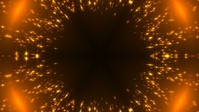 Radial gold kaleidoscope with glittering stars on black, many particles, celebratory 3d rendering backdrop. Radial gold kaleidoscope with glittering stars on Stock Images