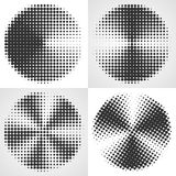 Radial gradient halftone backgrounds. Dot circular design. Stock Photography