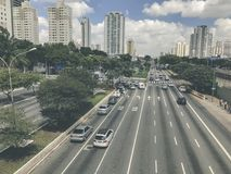 Radial Leste Avenue, in Sao Paulo, Brazil. Sao Paulo, Brazil - March 5, 2018: View of traffic on Radial Leste Avenue, the East-West connection, near station Royalty Free Stock Images