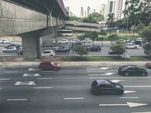 Radial Leste Avenue, in Sao Paulo, Brazil. Sao Paulo, Brazil - March 5, 2018: View of traffic on Radial Leste Avenue, the East-West connection, near station Stock Images