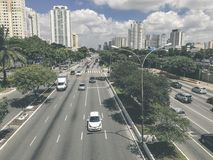 Radial Leste Avenue, in Sao Paulo, Brazil. Sao Paulo, Brazil - March 5, 2018: View of traffic on Radial Leste Avenue, the East-West connection, near station Royalty Free Stock Photos