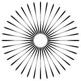 Radial lines abstract geometric element. Spokes, radiating strip Royalty Free Stock Image
