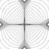 Radial lines with deformation effect. Radiating distorted mesh, Royalty Free Stock Photos