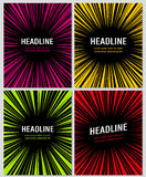 Radial manga graphic speed frames superhero action explosion set.   Royalty Free Stock Photos