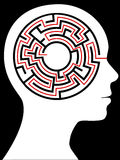 Radial Maze Circular Brain Puzzle in a Head Stock Photo