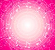 Radial Music Notes Pink Background vector illustration