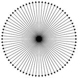 Radial - radiating lines outwards from center point vector illustration