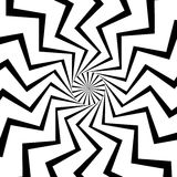 Radial, radiating lines with wavy, zigzag distortion. Royalty free vector illustration royalty free illustration