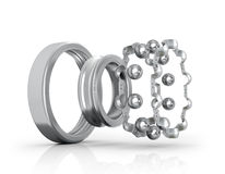 Radial roller bearing disassembled. 3D illustration Stock Photography