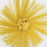 Radial spaghetti and penne Royalty Free Stock Images