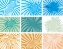 Radial Sunbeam Striped Background Collection Royalty Free Stock Image