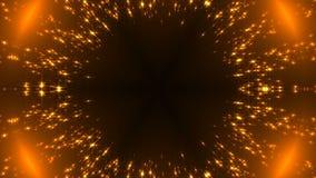 Radiale gouden caleidoscoop met schitterende sterren op zwarte, vele deeltjes, feest 3d teruggevende achtergrond Stock Afbeeldingen