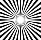Radiale lijnen starburst, zonnestraalpatroon Zwart-witte circul Stock Afbeelding