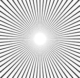 Radiale lijnen starburst, zonnestraalpatroon Zwart-witte circul Stock Foto's