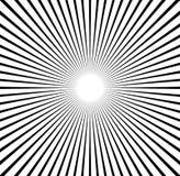 Radiale lijnen starburst, zonnestraalpatroon Zwart-witte circul Royalty-vrije Stock Afbeeldingen