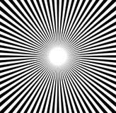 Radiale lijnen starburst, zonnestraalpatroon Zwart-witte circul Stock Foto