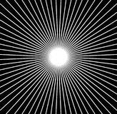 Radiale lijnen starburst, zonnestraalpatroon Zwart-witte circul Stock Fotografie