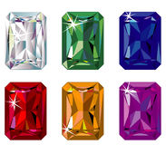 Radiant cut precious stones with sparkle. Illustration of radiant cut precious stones with sparkle Stock Image