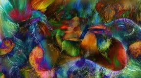 Radiant elven czarodziejskiej kobiety istoty, energetycznych świateł i ptasiego feniksa kolażu, Fotografia Royalty Free
