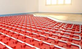 Radiant floor heater. Radiant floor panel installation in empty room 3d rendering image Stock Image