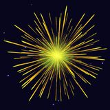 Radiant golden yellow fireworks holidays background. Celebration vibrant radiant vector golden yellow fireworks over night sky. 4th of July Independence Day, New Stock Image
