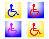 Radiant Handicapped signs. Four brightly colored handicapped signs with the heads in a radiant circle of white light Stock Image