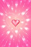 Radiant love. With flying hearts Royalty Free Stock Photo